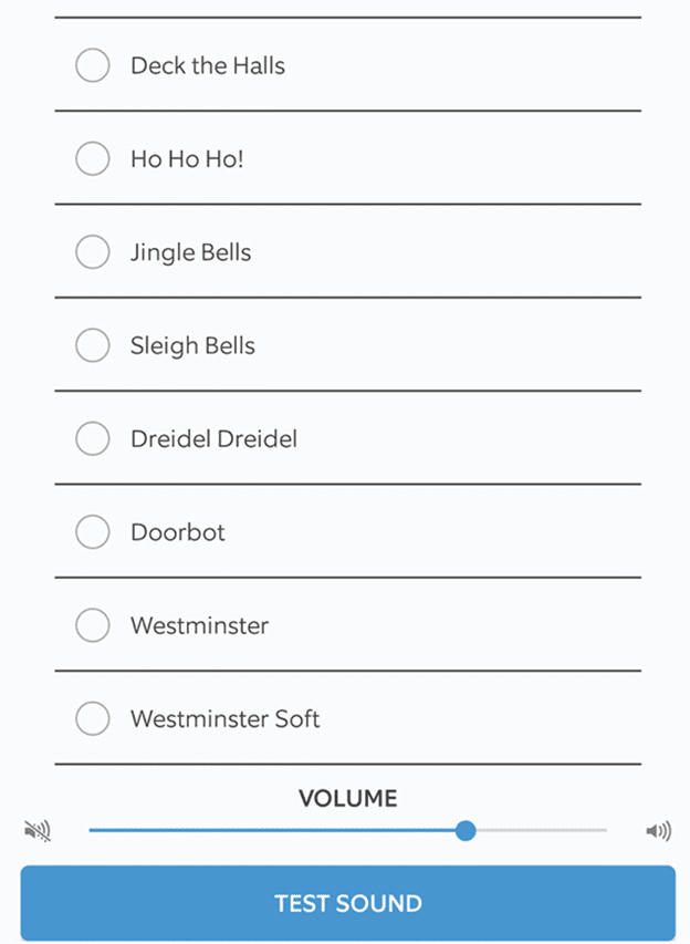Image of Ring Doorbell available sound options